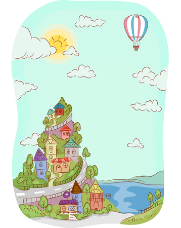 Illustration of Houses Built on Top of a Mountain Near the Sea Stock Photo