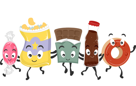 malnutrition: Mascot Illustration Featuring a Group of Junk Food Stock Photo