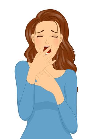 Ilustración de una niña Sleepy tapándose la boca al bostezar Foto de archivo
