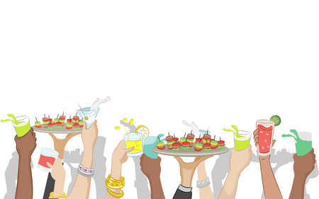 wine and food: Cropped Illustration of a Cocktail Party with Food Being Raised