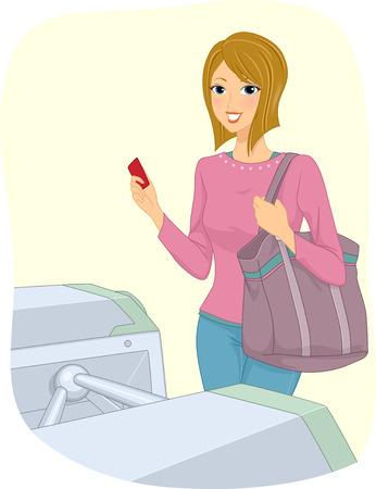fare: Illustration of a Girl Holding a Turnstile Ticket