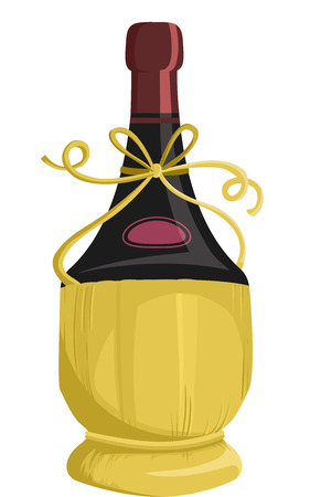 liquors: Illustration of a Bottle of Wine Packaged in a Fiasco Basket Stock Photo