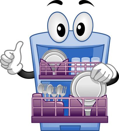 lavar trastes: Mascot Ilustración de un lavavajillas con un pulgar hacia arriba