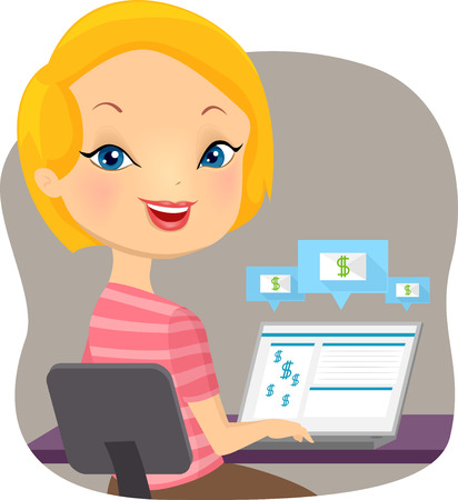 girl using laptop: Illustration of a Girl Using Her Laptop to Make Bank Transactions