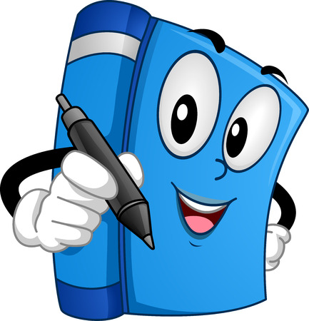 signing: Mascot Illustration of a Book Holding a Pen at a Book Signing Event Stock Photo