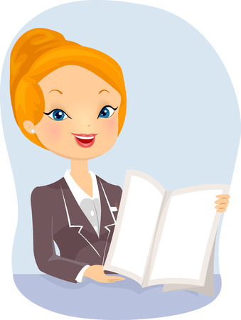 agents: Illustration of a Female Insurance Agent Giving a Presentation Stock Photo
