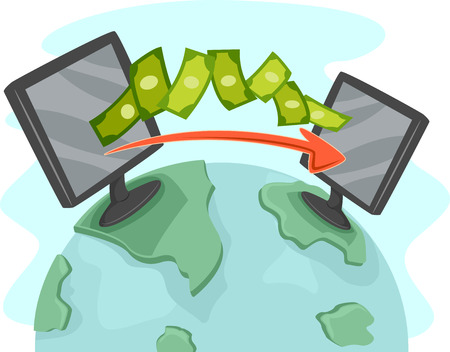 global finance: Illustration of Two Computers Facilitating Online Money Transfer
