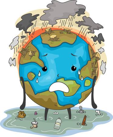 deforestacion: Ilustración con la mascota de la Tierra El sufrimiento de Inundaciones Contaminación del aire y deforestación Foto de archivo