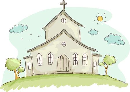 church: Doodle Ilustración de la fachada de una iglesia