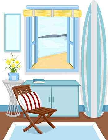 cabin: Illustration of the Interior of a Cabin with a View of the Beach from the Window Stock Photo