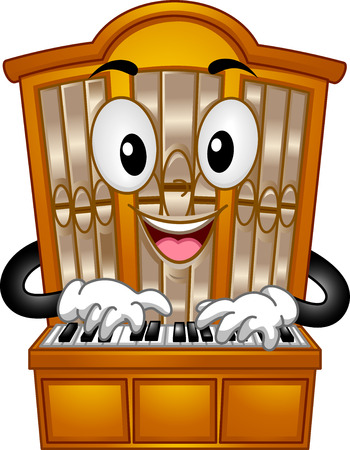 organs: Mascot Illustration of a Pipe Organ Pressing its Keys Stock Photo