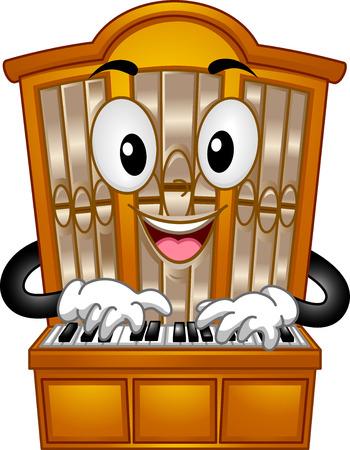 instrumentos musicales: Mascot Ilustración de un tubo de órgano pulsar sus teclas
