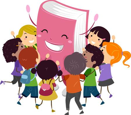 Stickman Illustratie van kinderen knuffelen een Boek Mascot Stockfoto