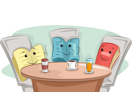 childrens book: Mascot Illustration of Books Having Coffee Together - Book Club