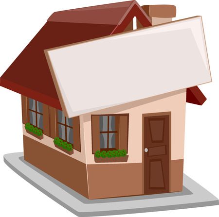 detached: Illustration of a Single Detached House with a Sign Attached to It