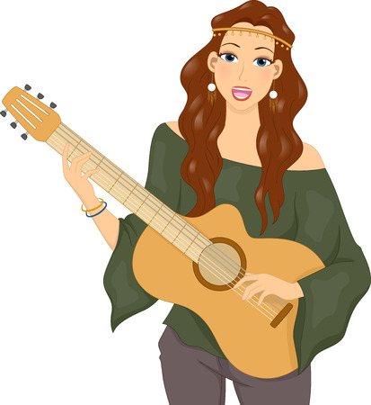 Illustration of a Hippie Girl Singing While Playing the Guitar