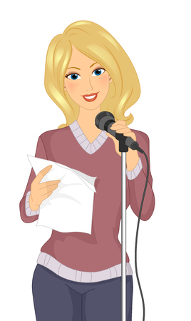 reciting: Illustration of a Girl Standing in Front of a Mic While Reciting Poetry