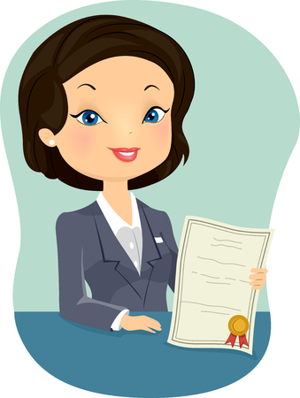 agent: Illustration of a Female Insurance Agent Holding a Certificate
