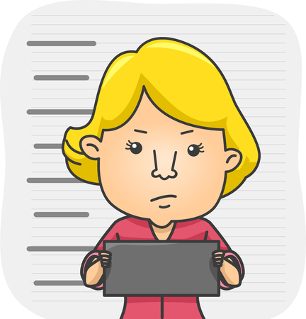 criminology: Illustration of a Girl Holding a Name Tag While Her Mug Shot Stock Photo