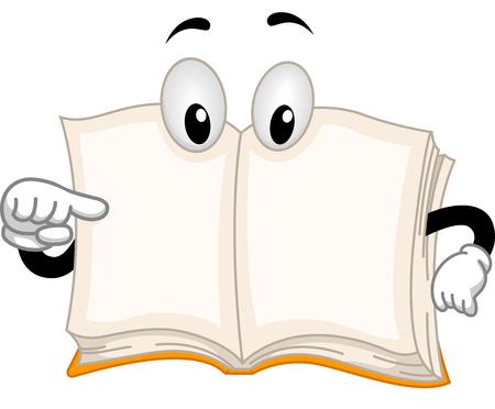 libro abierto: Mascot Ilustración con un libro que señala a sí mismo