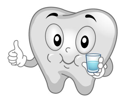 mouthwash: Mascot Ilustración de un diente Hacer gárgaras con enjuague bucal