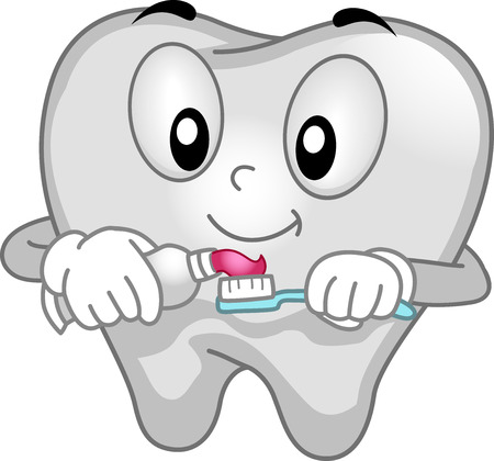 cartoon mascot: Mascot Illustration of a Tooth Spreading Toothpaste on its Toothbrush Stock Photo