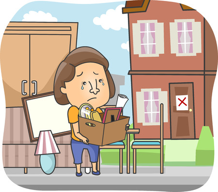 belongings: Illustration of a Woman Carrying Her Belongings in a Box After being Evicted