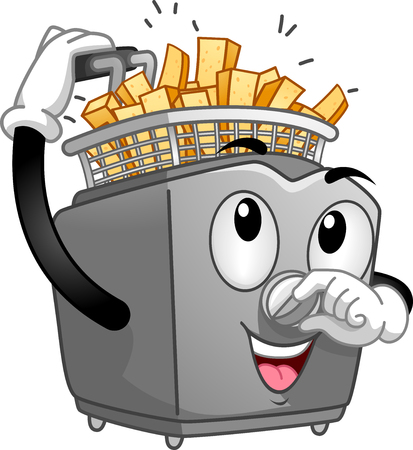 anthropomorphic: Mascot Illustration of a Deep Fryer Frying Potato Sticks Stock Photo