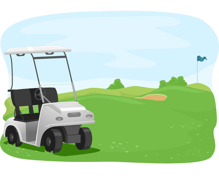 parked: Illustration of a Golf Cart Parked in a Golf Course