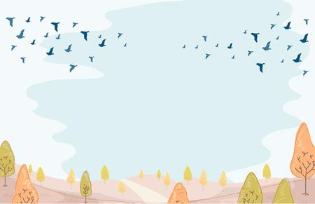 Illustratie van een groep van trekvogels in voorbereiding voor de winter