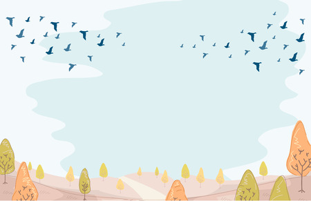 migrating: Illustration of a Group of Birds Migrating in Preparation for Winter