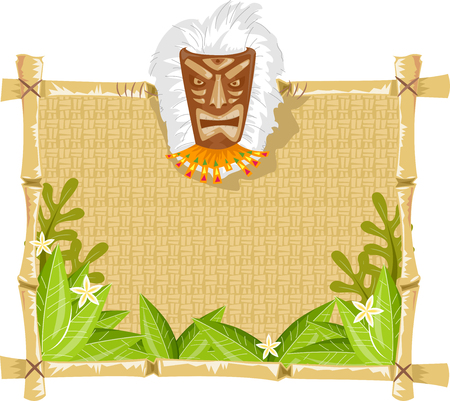 wooden mask: Illustration of a Wooden Board Decorated with a Tiki Mask