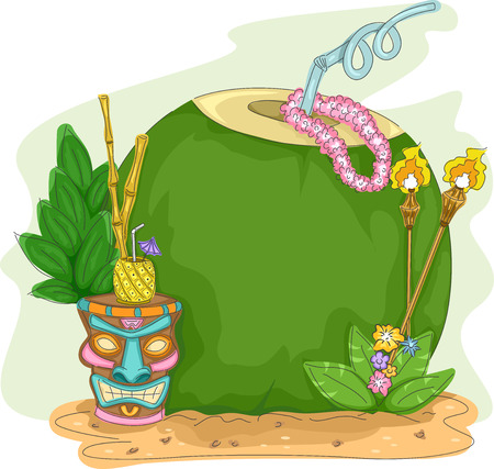 coconut water: Frame Illustration of a Coconut Drink with a Tiki Glass Beside It