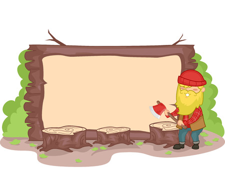 lumberjack: Banner Illustration of a Lumberjack Surrounded by Wood Stumps Stock Photo