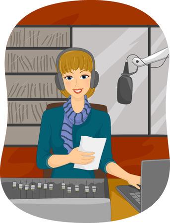 disc jockey: Illustration of a Female Disc Jockey Reading a Piece of Paper Stock Photo