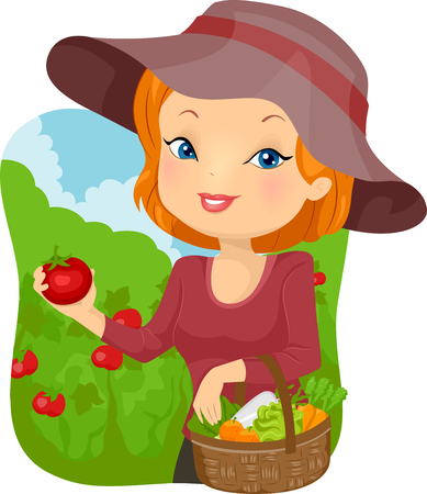 vegetable garden: Illustration of a Woman Carrying a Basket of Freshly Harvested Tomatoes Stock Photo