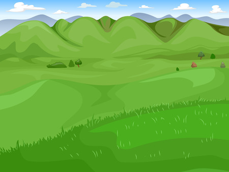 picturesque: Illustration of a Wide Expanse of Green Grassland