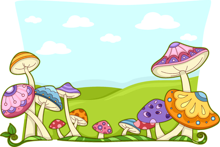 whimsical: Background Illustration Featuring Colorful and Whimsical Mushrooms