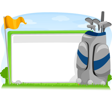 caddy: Illustration of a Blank Board Sitting Beside a Golf Flag and Caddy Bag Stock Photo