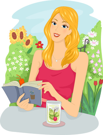 graphic novel: Illustration of a Girl Reading a Book in the Garden