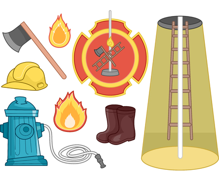 commonly: Illustration Set Featuring Things Commonly Associated with Firefighters Stock Photo
