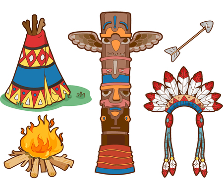 indian headdress: Illustration Set Featuring Things Commonly Associated with Native Americans