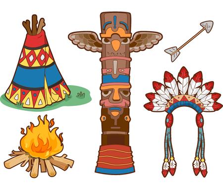 totem indien: Set Illustration Doté choses communément associés avec les Amérindiens Banque d'images