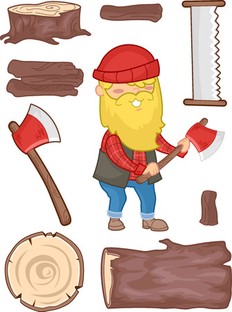 laborer: Illustration Set Featuring a Lumberjack Surrounded by Tools Used for Cutting Wood