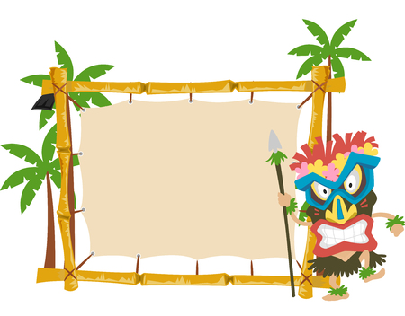 wooden mask: Illustration of a Man Wearing a Tiki Mask Standing Beside a Wooden Banner