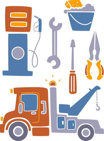 associated: Illustration Set Featuring Things Usually Associated with Car Related Services Stock Photo