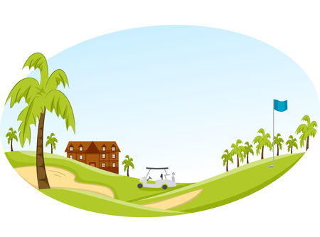 golf cart: Panorama Illustration of a Golf Course with a Golf Cart in the Middle