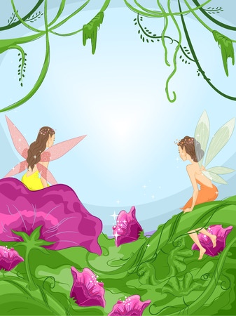 magical: Illustration of Tiny Fairies Sitting on Flowers in a Mystical Forest