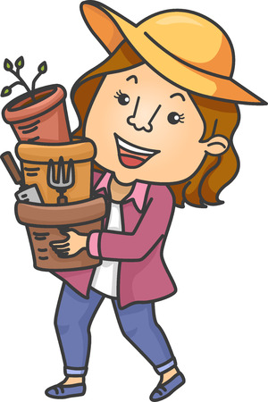 gardening tools: Illustration of a Girl Carrying Pots and Gardening Tools Stock Photo