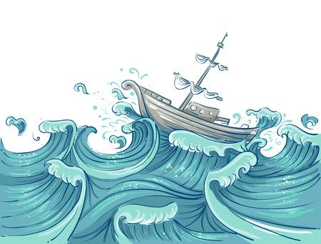 Illustratie van een schip wordt heen en weer geslingerd door Giant Waves